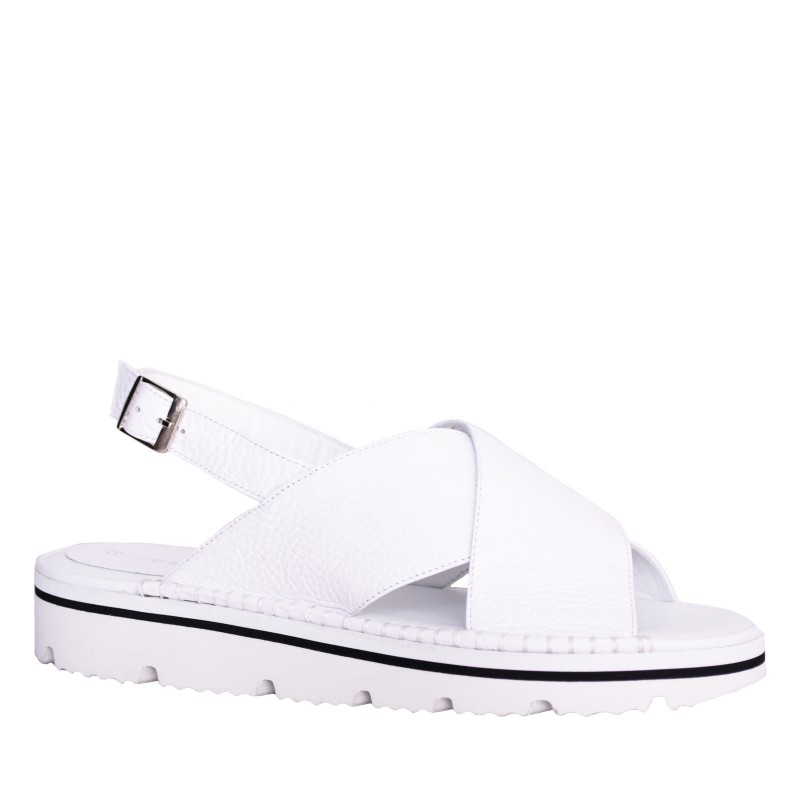 LORETTI Thick sole leather Bianco Neve sandals