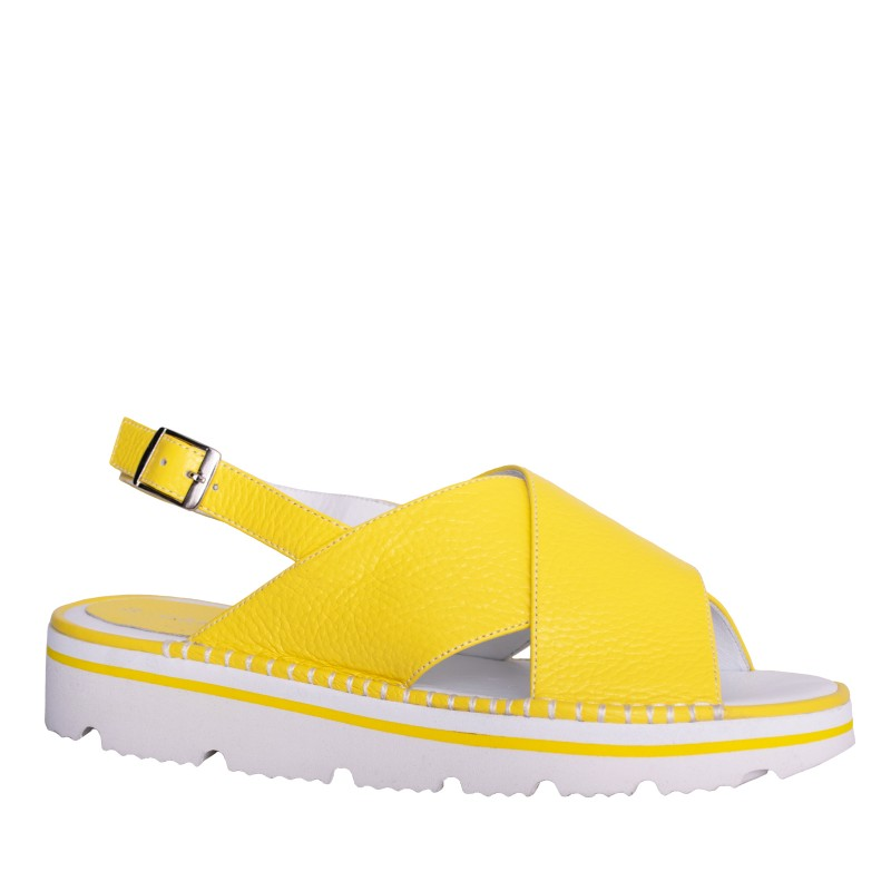 LORETTI Thick sole leather Limoncello sandals