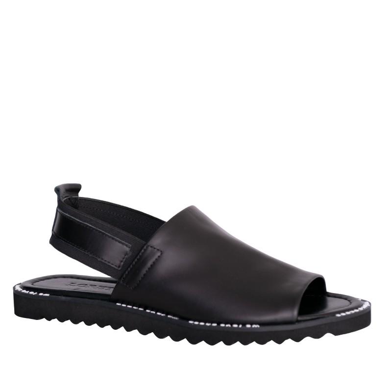 LORETTI Low heel leather Nero sandals
