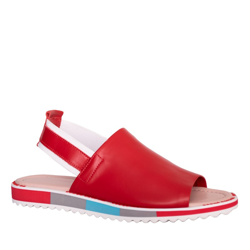 LORETTI Low heel leather Rosso sandals