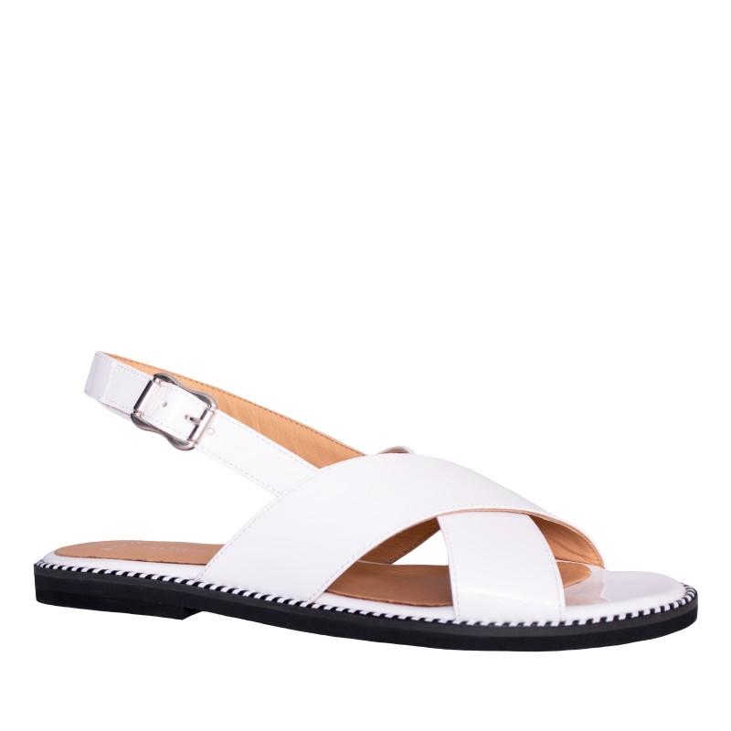 LORETTI Low heel patent leather Bianco Neve sandals