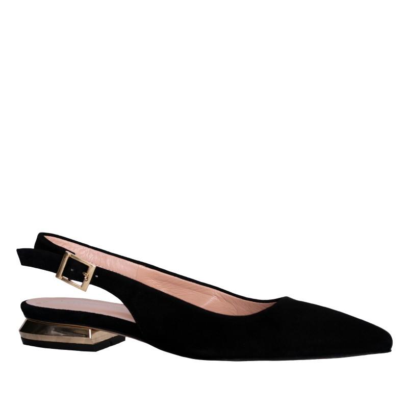 LORETTI Low heel Corvo Nero slingbacks