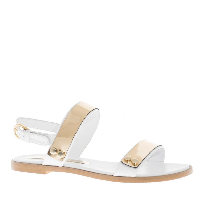 LORETTI Low heel leather Bianco Neve sandals