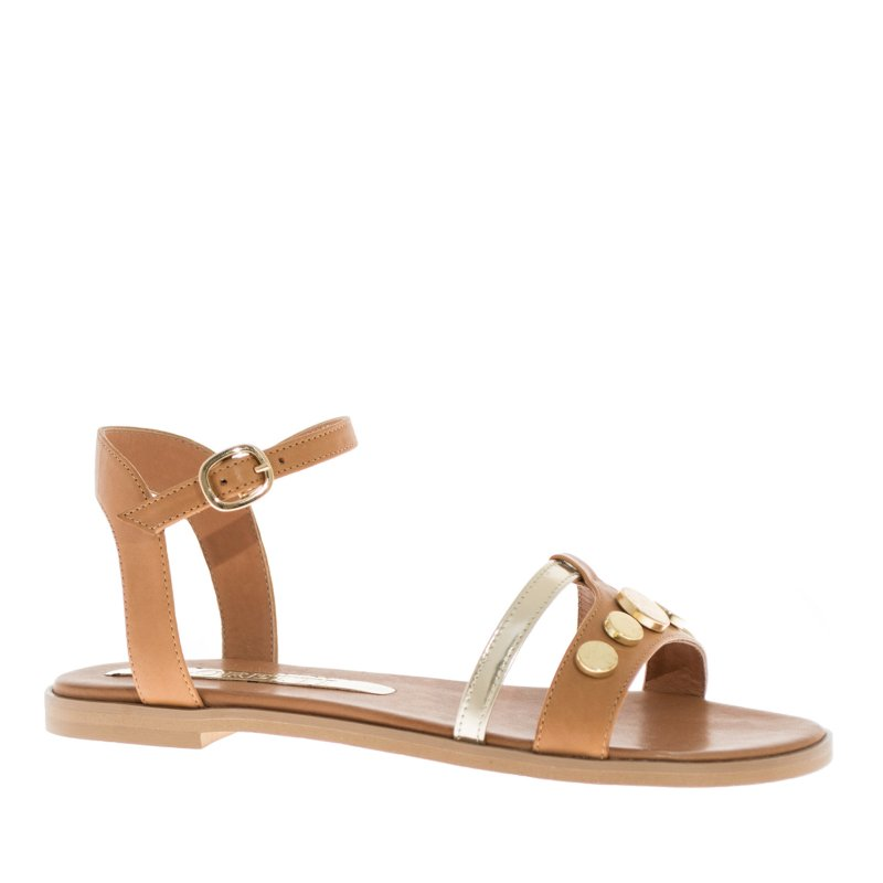 LORETTI Low heel leather Camel sandals