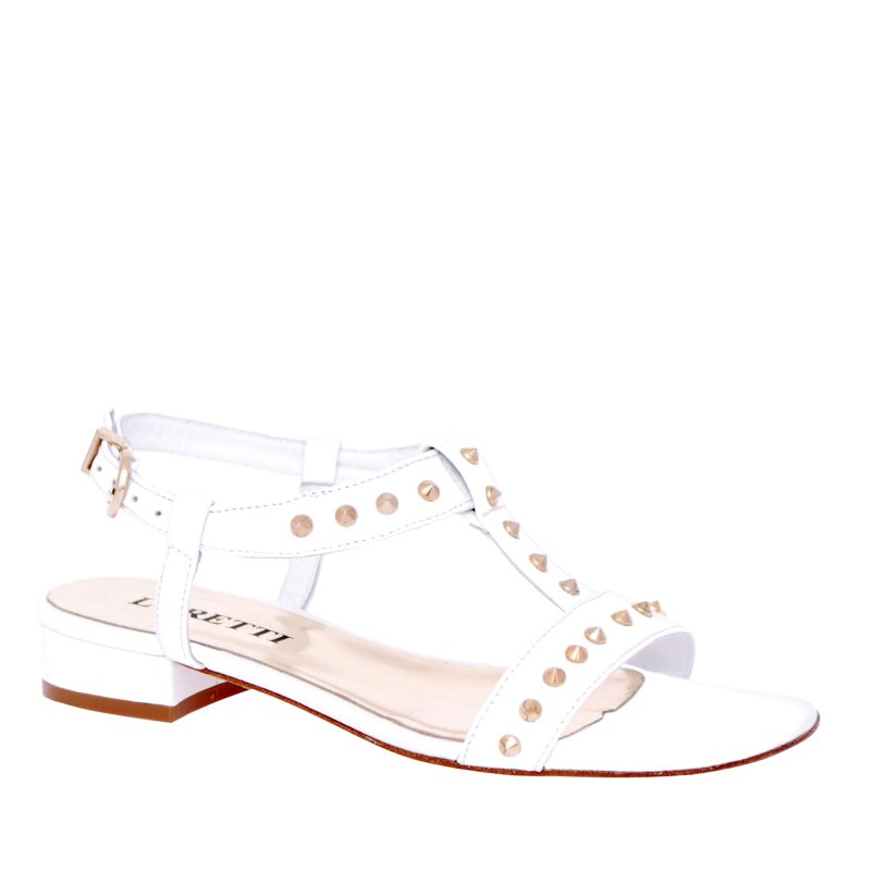 LORETTI Low heel leather White Snow sandals