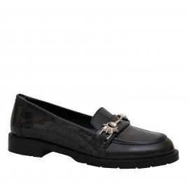 LORETTI Patent leather Antracite Metallizzato loafer shoes