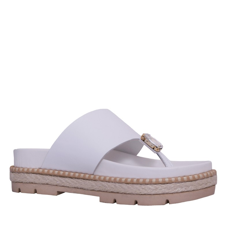 LORETTI Thick sole leather Bianco Neve slides