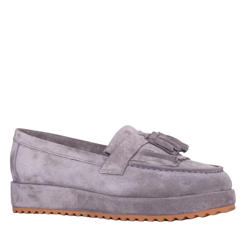 LORETTI Thick sole suede Grigio Slip on shoes