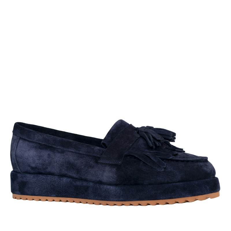LORETTI Thick sole suede Blu Notte Slip on shoes