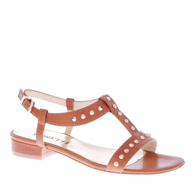LORETTI Low heel leather Caramello  sandals