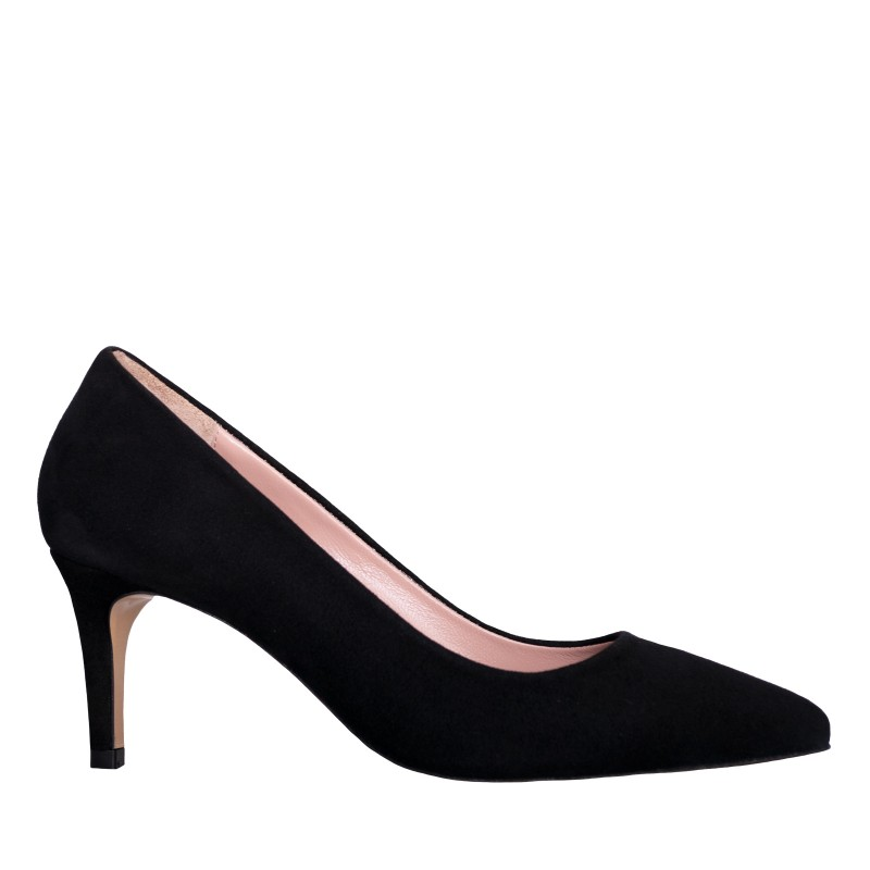 LORETTI Low heel black suede Carbone shoes