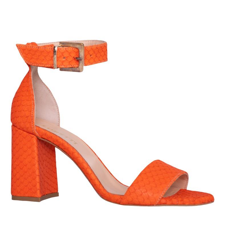 LORETTI Medium heel leather Orange slingbacks