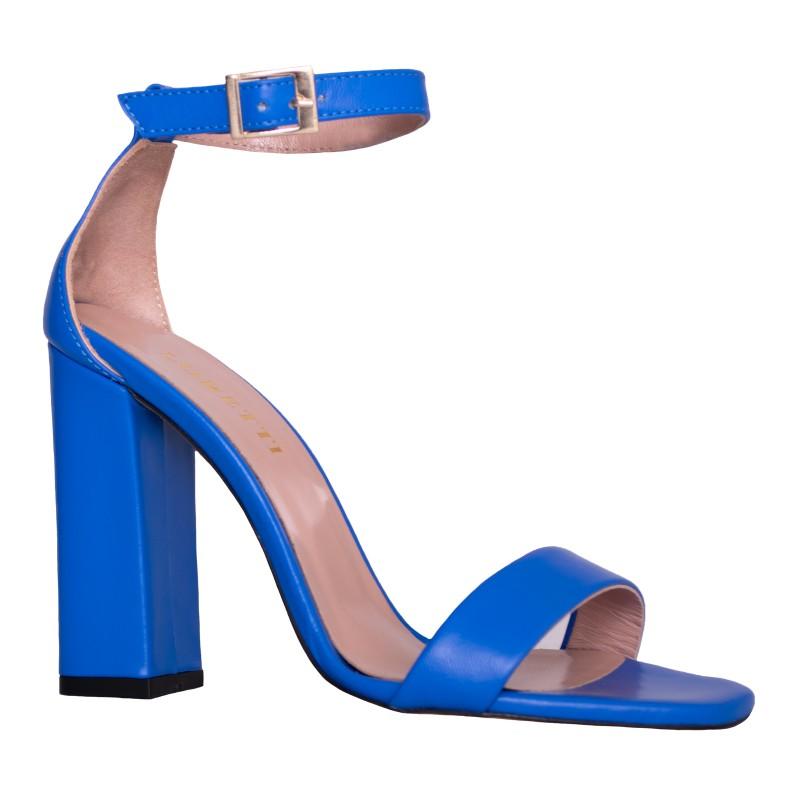 LORETTI High heel leather Royal Blue slingbacks