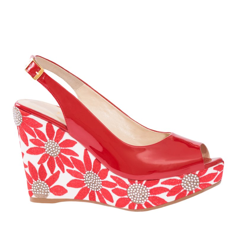 LORETTI Wedge-heel patent leather Rosso slingbacks