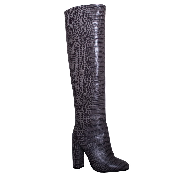 LORETTI High heel leather Grigio Coco high boots