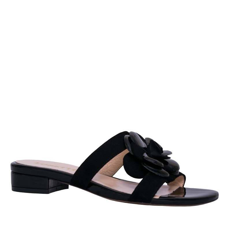 LORETTI Low heel suede and patent leather Carbone slides