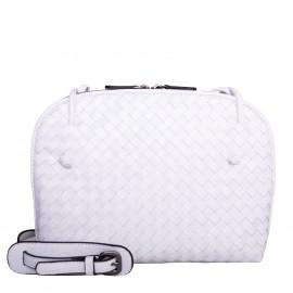 LORETTI Small weaved leather Bianco Neve shoulder bag