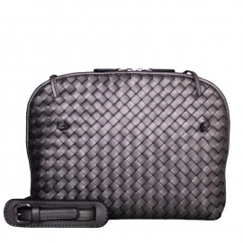 LORETTI Small weaved leather Antracite Metallizzato shoulder bag