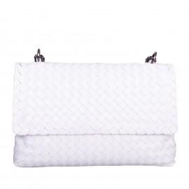 LORETTI Medium weaved leather Bianco Neve Bag