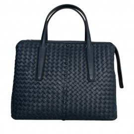 LORETTI Large beige leather Blu Marino bag