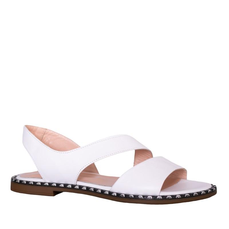 LORETTI Low heel leather Bianco Neve sandals