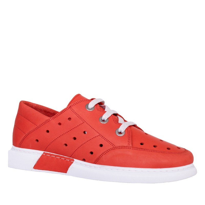 LORETTI Red leather Rosso sport shoes