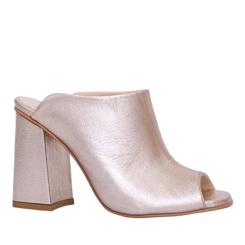 LORETTI High heel leather Oro slides
