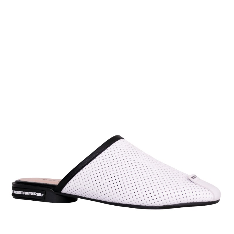 LORETTI Low heel leather White Snow slides