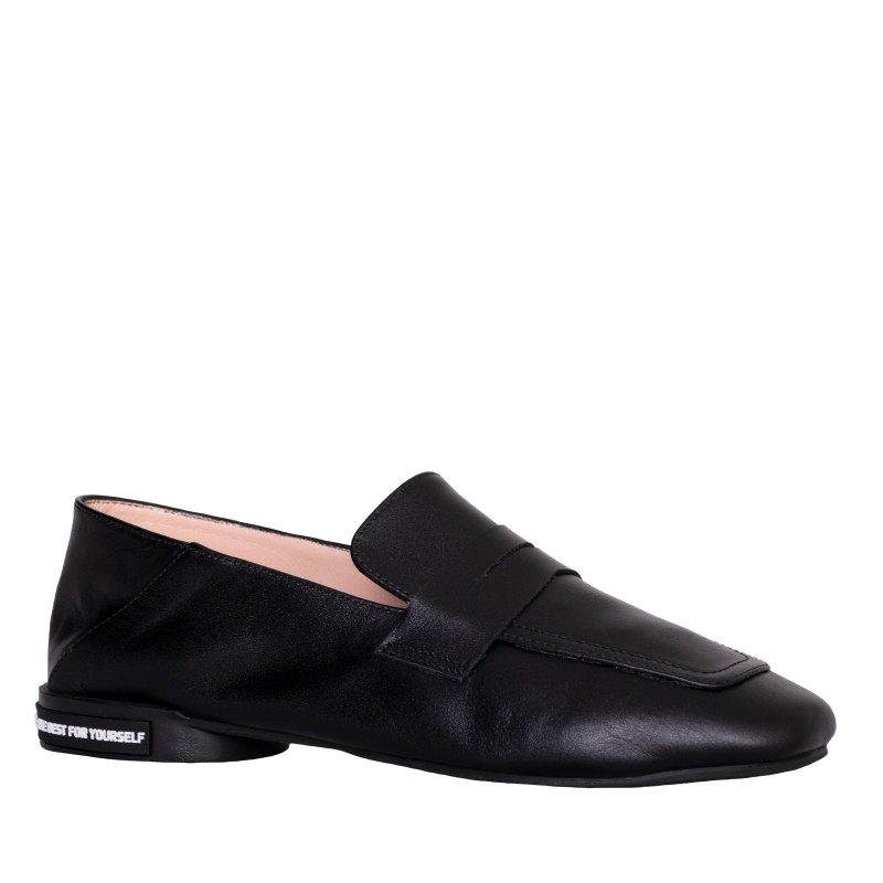 LORETTI Leather Coal Black slipper shoes