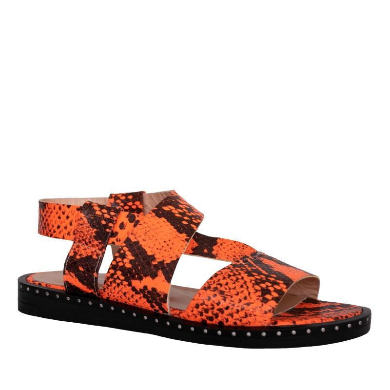 LORETTI Low heel python-embossed leather Arancia sandals