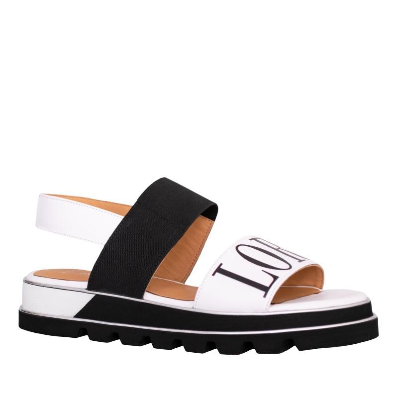 LORETTI Thick sole patent leather Bianco Neve sandals