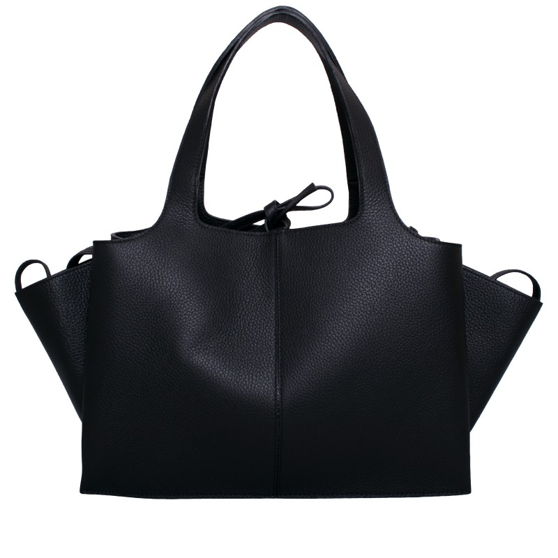 LORETTI Large black leather Carbone bag